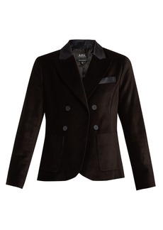 A.P.C. Double-breasted cotton-velvet blazer