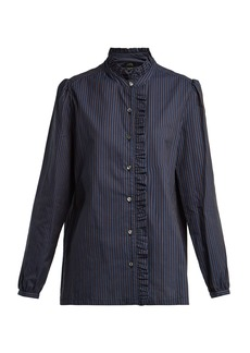 A.P.C. Dunst ruffle-detailed striped cotton shirt