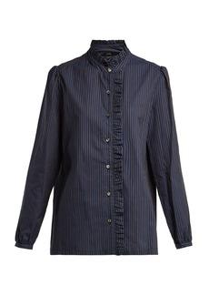 A.P.C. Dunst ruffle-detailed striped cotton shirt