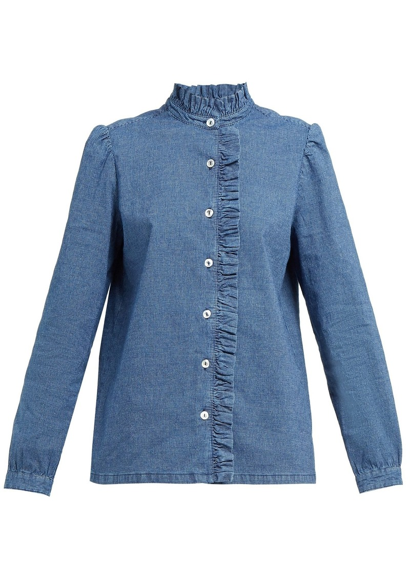 A.P.C. Dunst ruffled cotton-chambray blouse