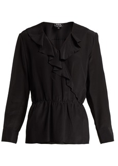 A.P.C. Edna ruffled silk blouse