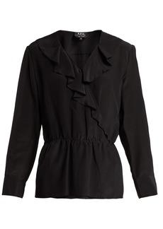 A.P.C. Edna ruffled silk blouse