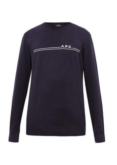 A.P.C. Eponymous logo-jacquard cotton-blend sweater
