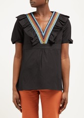 A.P.C. Erwin ruffled and striped V-neck cotton top