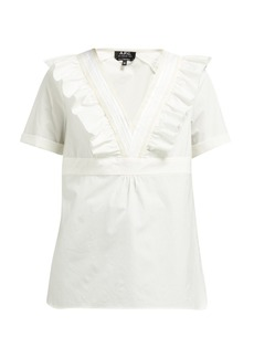 A.P.C. Erwin ruffled V-neck cotton top