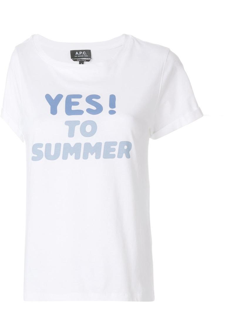 A.P.C. front print T-shirt - White