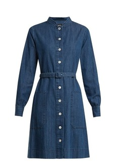 A.P.C. Jane mandarin-collar cotton-denim shirtdress