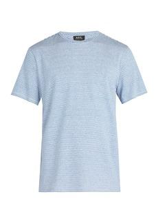 A.P.C. Jimmy fine stripe linen blend T-shirt