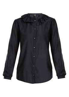 A.P.C. Josephine ruffled-collar cotton-blend blouse