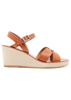 A.P.C. Judith leather and suede wedge sandals