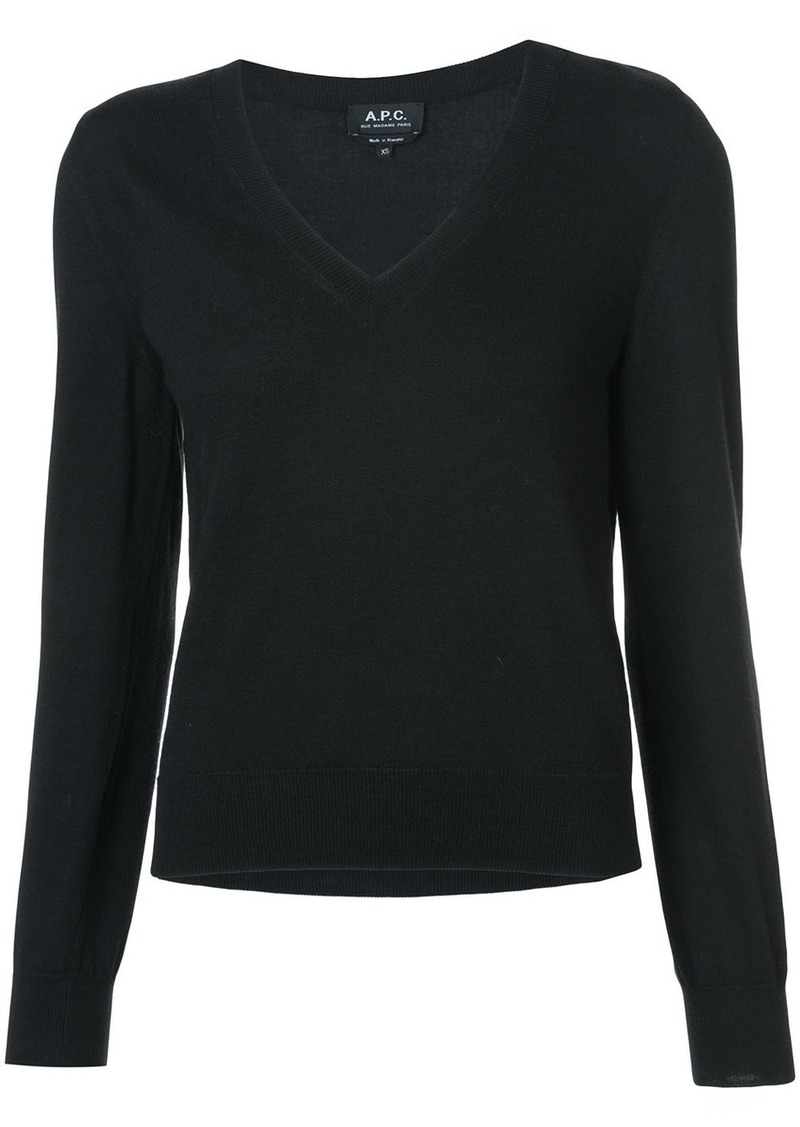 A.P.C. knitted V-neck top - Black