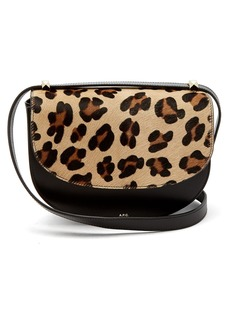 A.P.C. Lausanne leopard-print leather cross-body bag