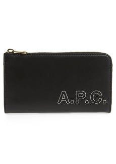 A.P.C. Lise Embroidered Logo Leather Wallet