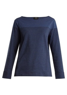 A.P.C. Liz striped cotton-blend top