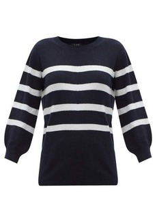 A.P.C. Lizzy cropped-sleeve striped cotton-blend sweater