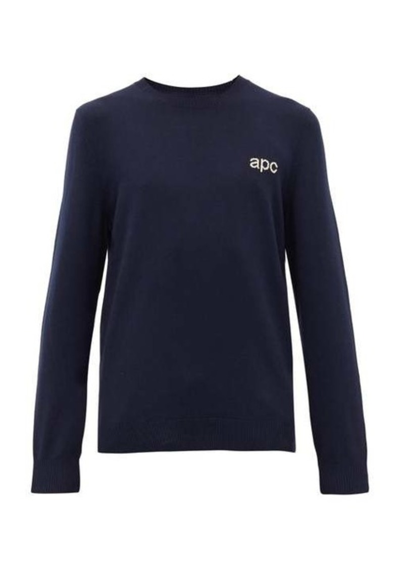 A.P.C. Logo-intarsia wool sweater
