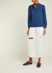 A.P.C. Loula cotton-chambray blouse