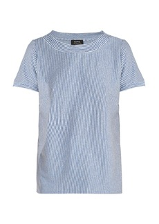 A.P.C. Mara striped linen blend T-shirt
