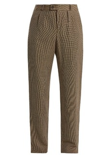 A.P.C. Marron hound's-tooth linen-blend trousers