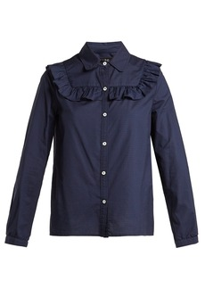 A.P.C. Memphis check ruffled cotton blouse
