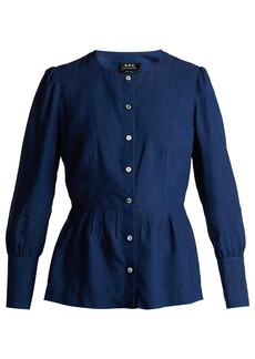A.P.C. Peplum-hem poplin blouse