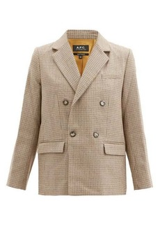A.P.C. Prune double-breasted houndstooth-wool jacket