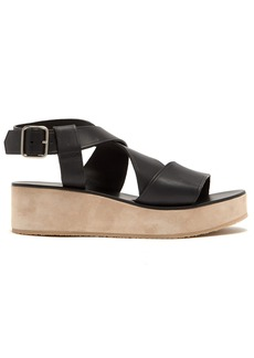 A.P.C. Rita crossover leather flatform sandals