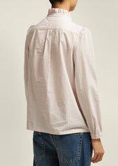 A.P.C. Ruffle-detailed striped cotton blouse