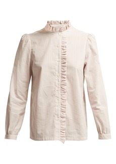 A.P.C. Ruffle-detailed striped cotton blouse