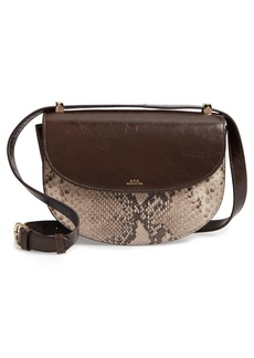 A.P.C. Sac Genève Snake Embossed Leather Shoulder Bag