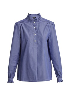 A.P.C. Saint Germain ruffle-detailed striped cotton shirt