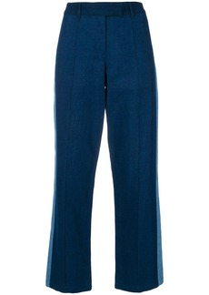A.P.C. side stripe cropped trousers - Blue