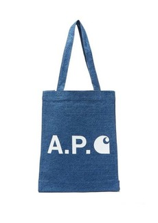 A.P.C. Small logo-print denim tote bag