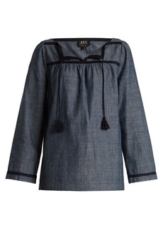 A.P.C. Sol cotton-chambray top