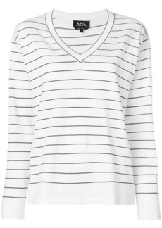 A.P.C. striped V-neck pullover - White