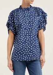 A.P.C. Suzanne polka-dot cotton-blend blouse