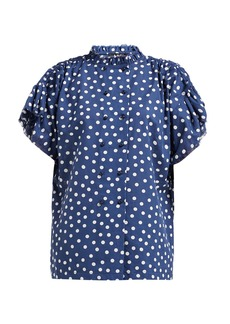 A.P.C. Suzanne polka-dot cotton-blend blouse
