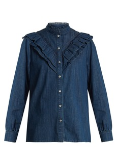 A.P.C. Suzie ruffle-trimmed cotton-chambray shirt