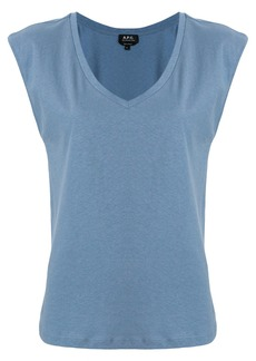 A.P.C. U-neck cap sleeve T-shirt - Blue