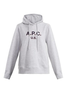 A.P.C. US Star Logo cotton-blend jersey hooded sweatshirt