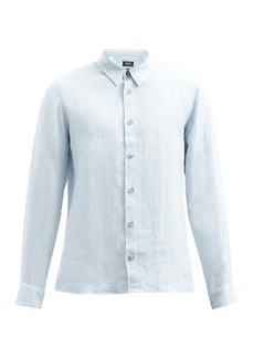 A.P.C. Vincent logo-embroidered linen shirt
