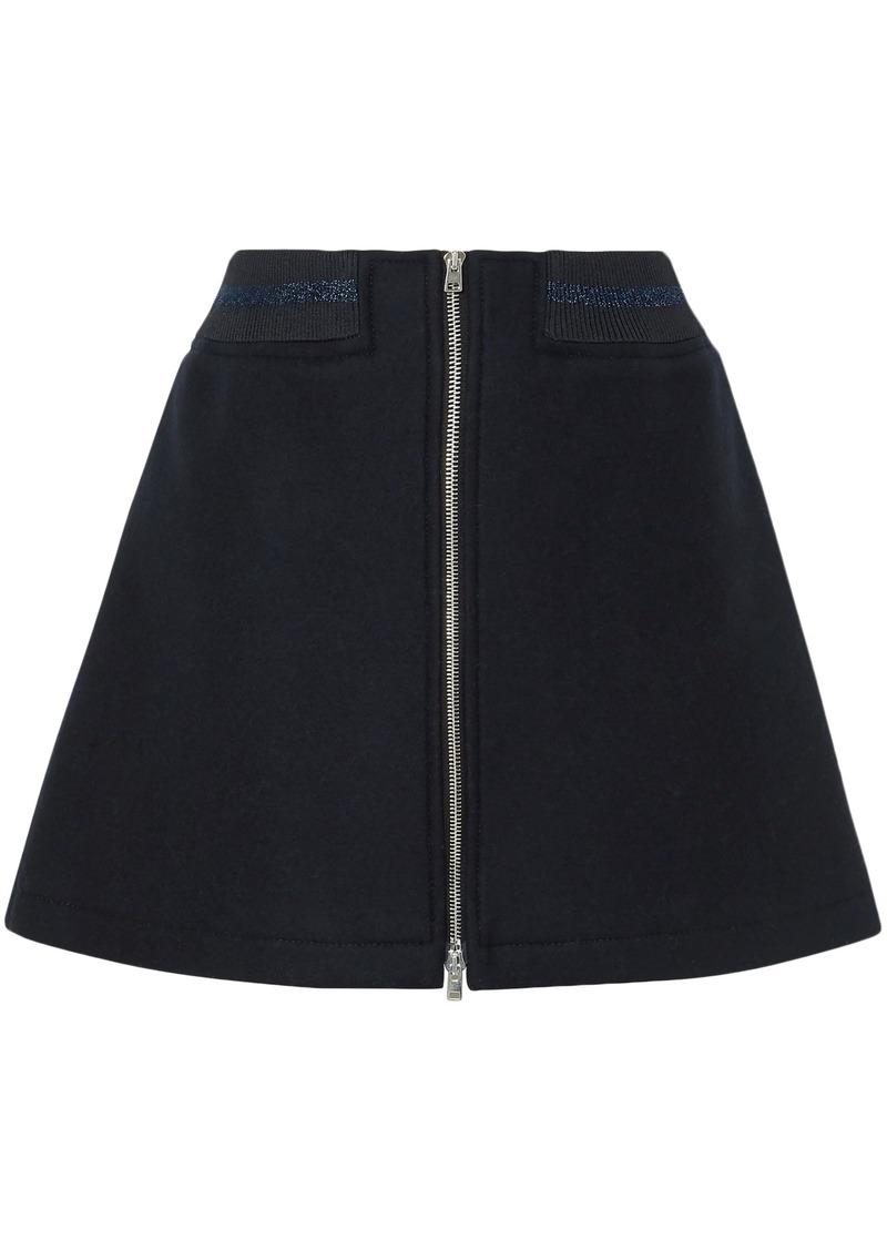 A.p.c. Woman Charlotte Metallic-trimmed Wool-blend Mini Skirt Midnight Blue