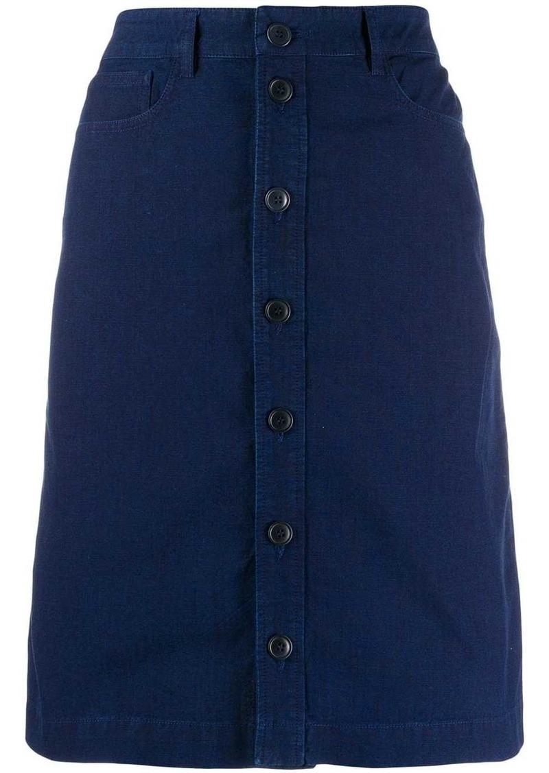 A.P.C. button-through A-line skirt