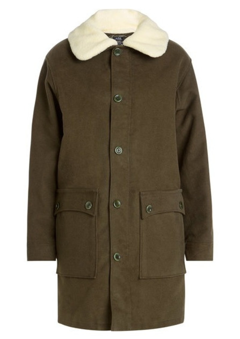 A.P.C. Cotton Parka with Faux-Shearling Collar