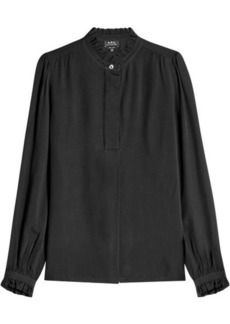 A.P.C. Crepe Blouse with Ruffled Trims