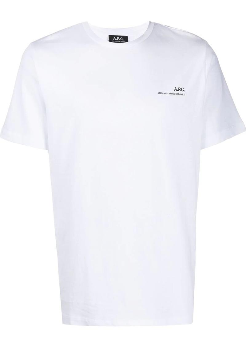 A.P.C. crew neck logo printed T-shirt