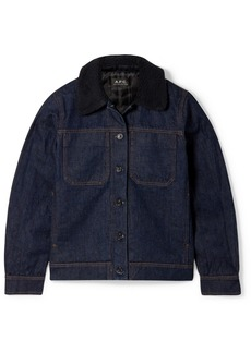 A.P.C. Faux Shearling-trimmed Denim Jacket