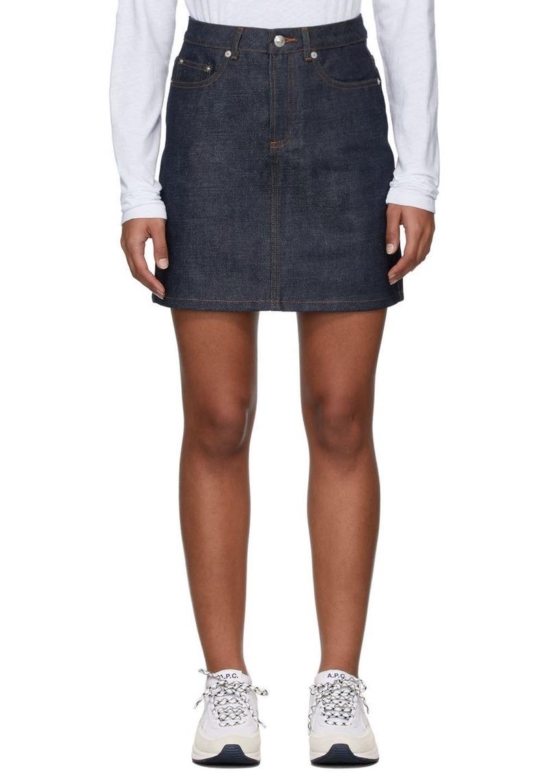 A.P.C. Indigo Denim Standard Short Skirt