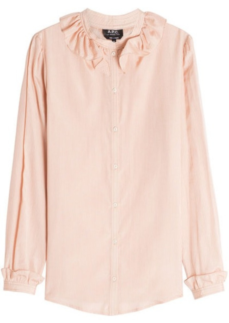 A.P.C. Josephine Striped Cotton-Silk Blouse