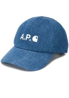 A.P.C. logo print denim cap